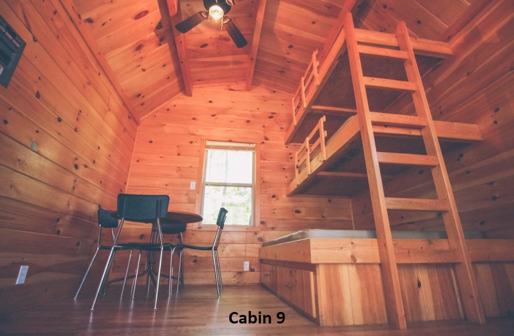 Cabin 9 interior - labelled