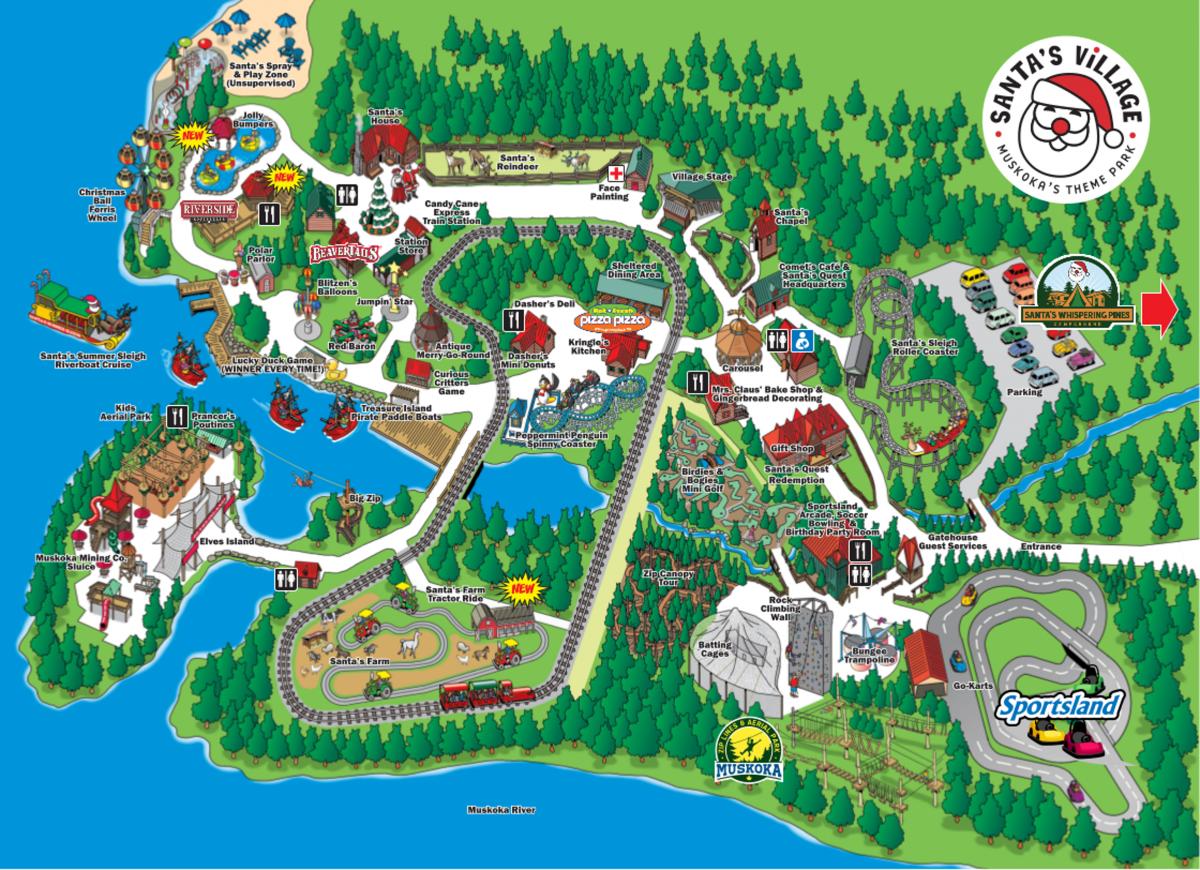 Park Map Santas Village Family Amusement Parks Muskoka Ontario - Map-of-amusement-parks-in-the-us